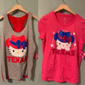 Hello Kitty Sparkle Texas T Shirt and Tank Top 2pc
